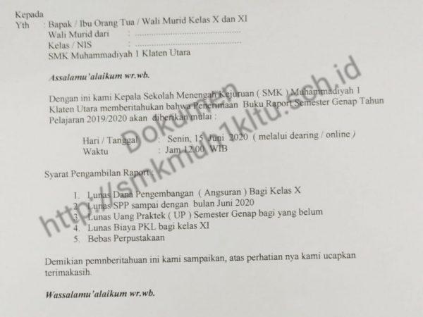 Pengambilan raport secara daring SMK Muhammadiyah 1 Klaten Utara