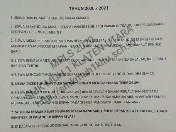 MPLS (Materi Pengenalan Lingkungan Sekolah) belum bisa dilaksanakan di SMK Muh 1 Klaten Utara