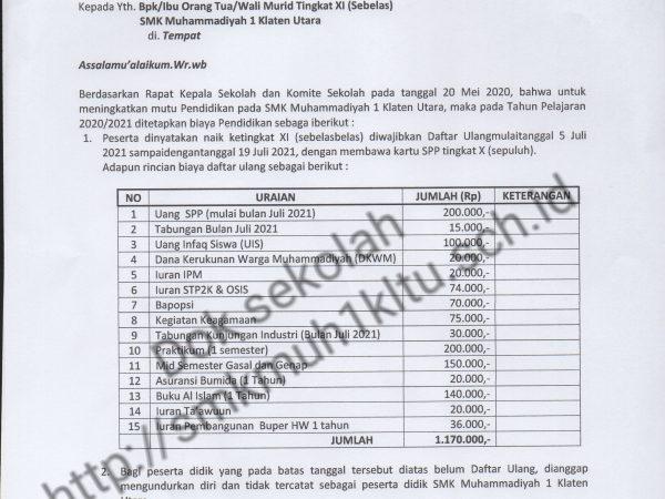 Daftar ulang siswa SMK Muhammadiyah 1 Klaten Utara tahun 2021